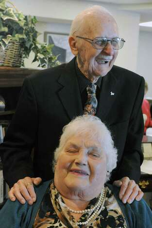 "Justus ""Jay"" and Lillian Belfield, will celebrate their 72nd wedding anniversary on Feb. 15, at Baptist Health Nursing on Feb. 7, 2014 in Scotia, N.Y. (Michael P. Farrell/Times Union archive) Photo: Michael P. Farrell / 00025662A"