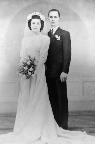 """Wedding day photograph of Justus """"Jay"""" and Lillian Belfield who will celebrate their 72nd wedding anniversary on Feb. 15, at Baptist Health Nursing on Feb. 7, 2014 in Scotia, N.Y. ( Photo Courtesy of the Justus """"Jay"""" and Lillian Belfield/archive ) Photo: Michael P. Farrell / 00025662A"""