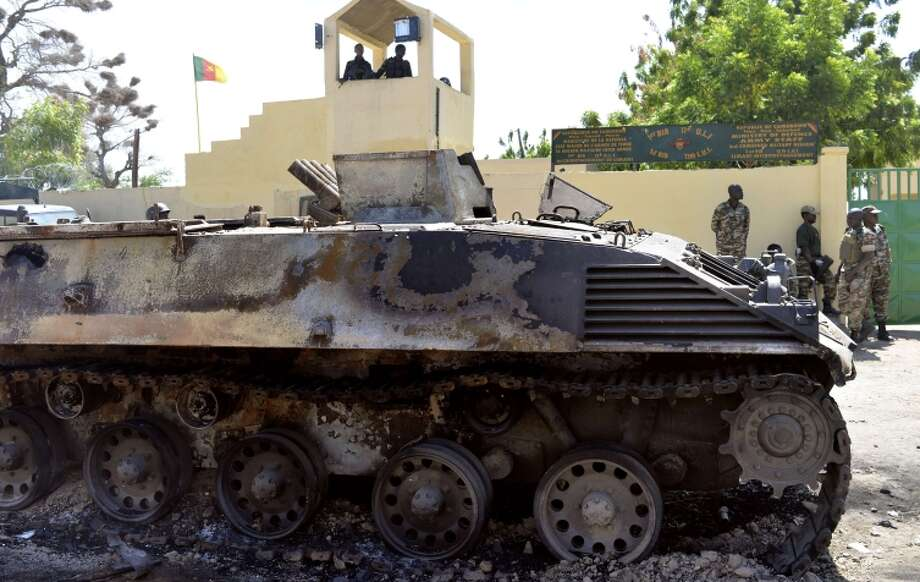 A Boko Haram tank was destroyed by Cameroon soldiers after an attack on their base in Amchide. Photo: REINNIER KAZE / AFP/Getty Images / AFP