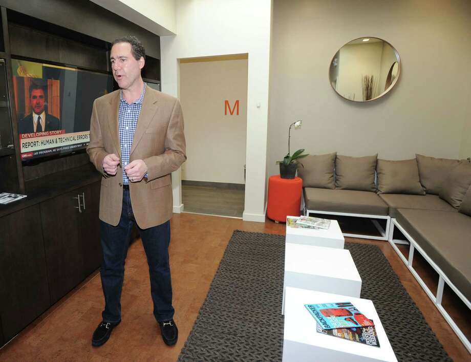 Lance Root, general manager for the Clay Health Club + Spa, in the club's lounge area during a tour of the club that is located at 11 Riverdale Ave., Port Chester, N.Y., Friday, Nov. 14, 2014. Photo: Bob Luckey / Greenwich Time