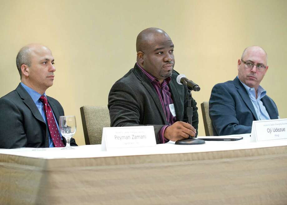 Left to right: Peyman Zamani, Founder & CEO, Logicbroker, Inc., Oji Udezue, Founder & CEO, Mingl, and  Bret Bader, CEO, Owlstone, Inc. speak at a panel hosted Friday by the Fairfield County Business Council. Photo: Contributed Photo / Greenwich Time Contributed