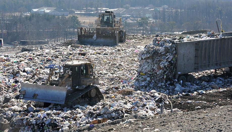 Trash is dumped at the Albany landfill on Monday, Feb. 6, 2012 in Albany, N.Y.  (Lori Van Buren / Times Union) Photo: Lori Van Buren / 00016345A