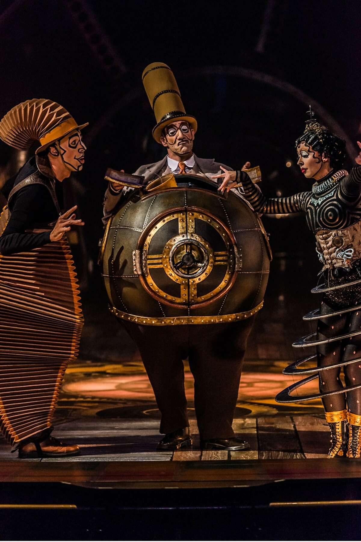 Nico the Accordion Man (Nicolas Baixas, left), Mr. Microcosmos (Karl L'Ecuyer) and Klara the Telegraph of the Invisible (Ekaterina Pirogovskaya) introduce us to the world of Curiosistan in Cirque du Soleil's