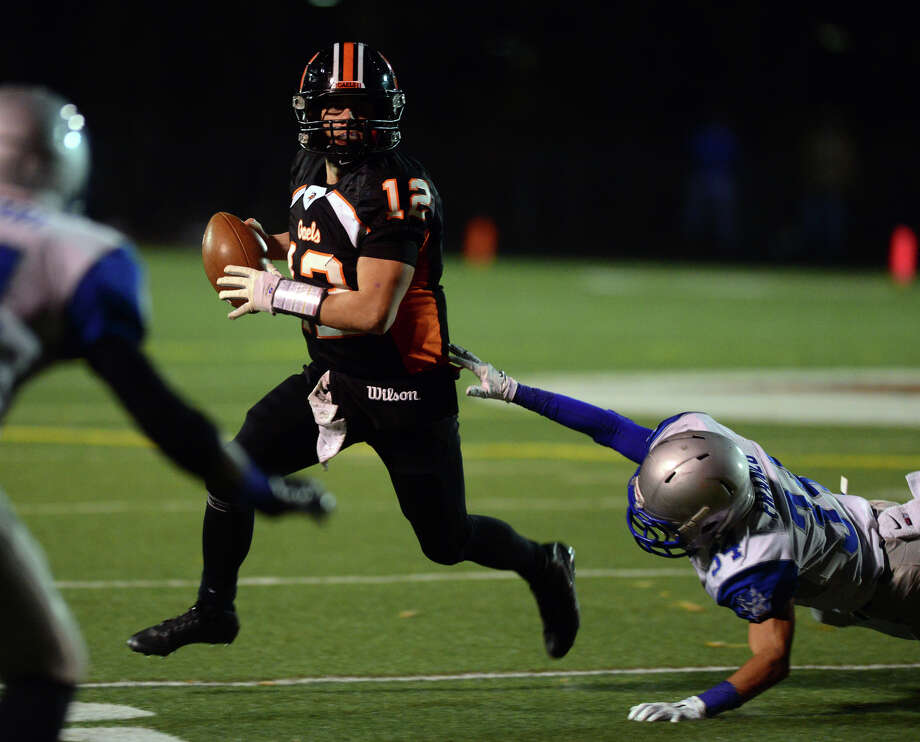 QB rushed 31 times for 141 yards and 2 TDs in 38-28 defeat of West Haven. Piccirillo also passed for 226 yards and two scores.Teammate Peter Hoff ran for 65 yards and 1 TD and caught a 30-yard pass for another score. Photo: Christian Abraham / Connecticut Post
