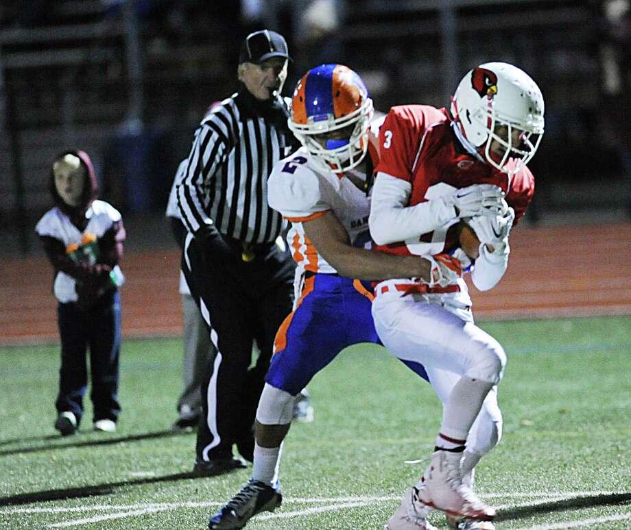 High school football game between Greenwich High School and Danbury High School at Greenwich, Conn., Friday night, Nov. 14, 2014. Photo: Bob Luckey / Greenwich Time