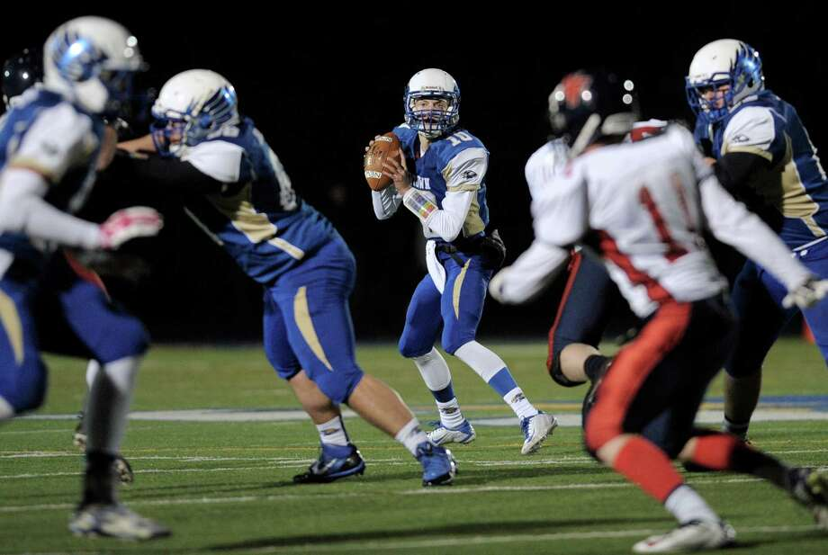 SWC football game between New Fairfield and Newtown high schools, played at Newtown High School, Newtown, Conn, on Friday night, November 14, 2014. Photo: H John Voorhees III / The News-Times