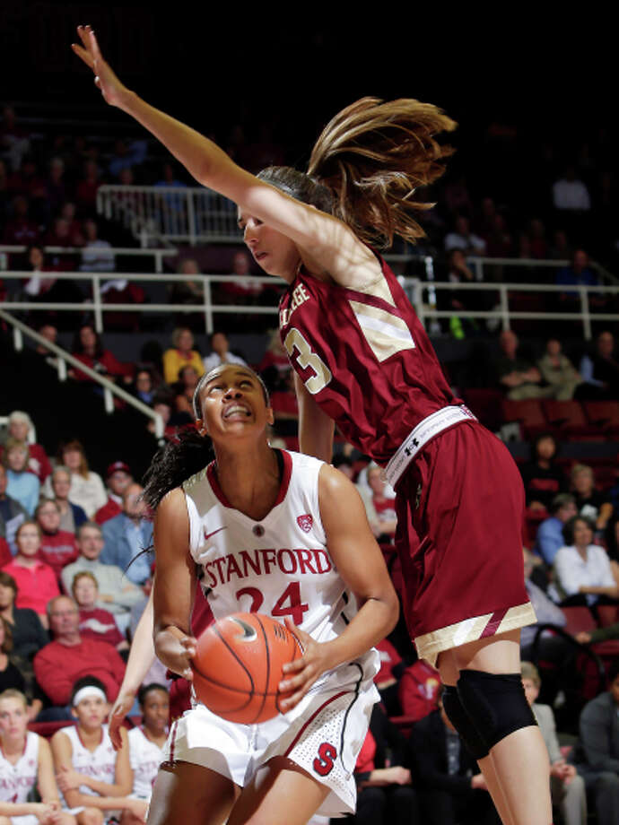 Stanford's Erica McCall (left) looks to shoot as the Eagles' Alexa Coulombe defends. Photo: Marcio Jose Sanchez / Associated Press / AP