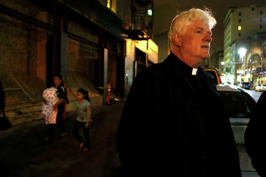 San Francisco Night Ministry's Lyle Beckham stands on Turk Street at the start of his nightly 10pm to 4am shift in San Francisco, Calif., on Monday, November 10, 2014. Photo: Scott Strazzante / The Chronicle / ONLINE_YES