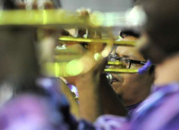 UAlbany's band plays a tune during a basketball game against St Francis of Brooklyn at University of Albany on Friday, Nov. 14, 2014 in Albany, N.Y. (Lori Van Buren / Times Union) Photo: Lori Van Buren / 00029432A