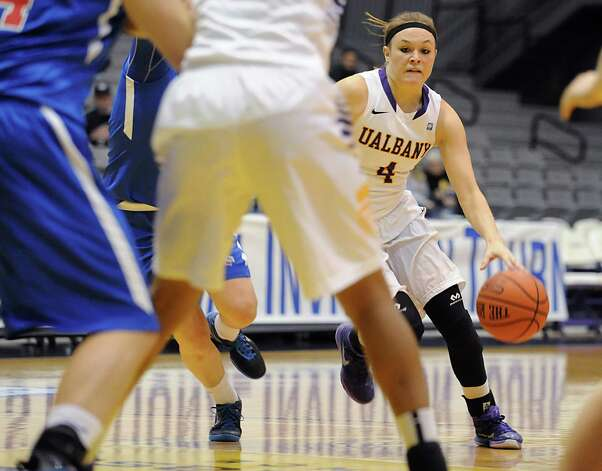 UAlbany's Sarah Royals dribbles the ball to the hoop during a basketball game against St Francis of Brooklyn at University of Albany on Friday, Nov. 14, 2014 in Albany, N.Y. (Lori Van Buren / Times Union) Photo: Lori Van Buren / 00029432A
