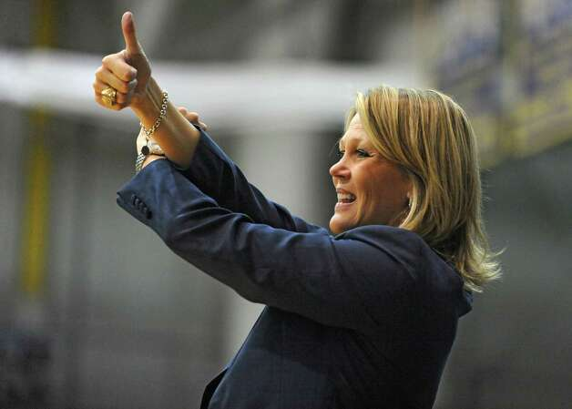 UAlbany head coach Katie Abrahamson-Henderson signals to her team during a basketball game against St Francis of Brooklyn at University of Albany on Friday, Nov. 14, 2014 in Albany, N.Y. (Lori Van Buren / Times Union) Photo: Lori Van Buren / 00029432A