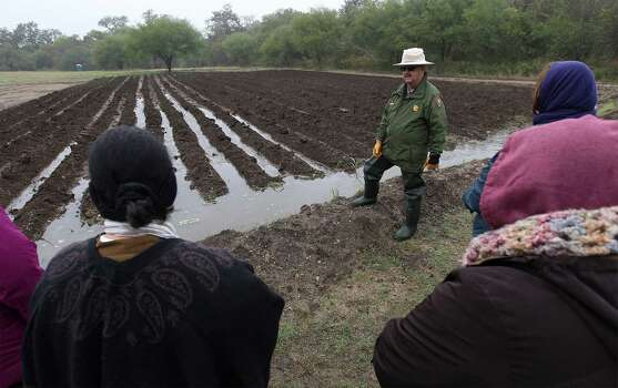 National Park Service's Tom Castanos shows guests how an acequia distributes water to a field during Farm Day at Mission San Juan on Saturday, Nov. 15, 2014. Farm Day featured various activities for guests to learn about how agriculture at the mission took root. Docents and National Park Service personnel showed various aspects of life at the mission that involved farming, raising animals and the development of an irrigation system. One of the highlights was a tour of the working acequia that is currently used to irrigate land around the mission as officials hope to grow and harvest crops on the land. Photo: Kin Man Hui, San Antonio Express-News / ©2014 San Antonio Express-News