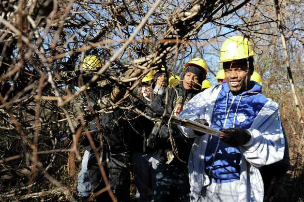 Rasean Joseph, 17, right, joins Green Tech High varsity basketball teammates as they cut invasive vines during a youth volunteer event on Saturday, Nov. 15, 2014, at the Corning Preserve in Albany, N.Y. With the City of Albanya€™s authorization, they cut the Oriental Bittersweet and other vines that are choking out trees in the riverfront preserve. (Cindy Schultz / Times Union) Photo: Cindy Schultz / 00029445A