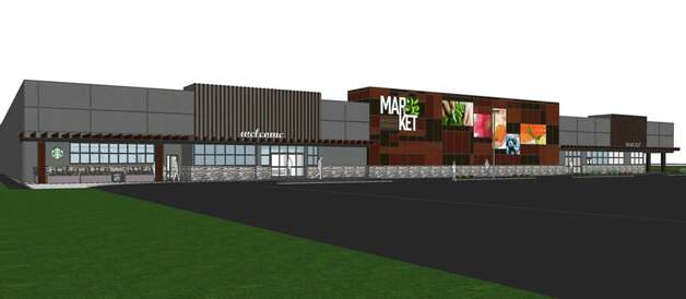 Drawing showing planned updated faced for the Wilton Price Chopper on Route 50. This is one of the first stores to be rebranded as Market 32, (Courtesy Market 32)