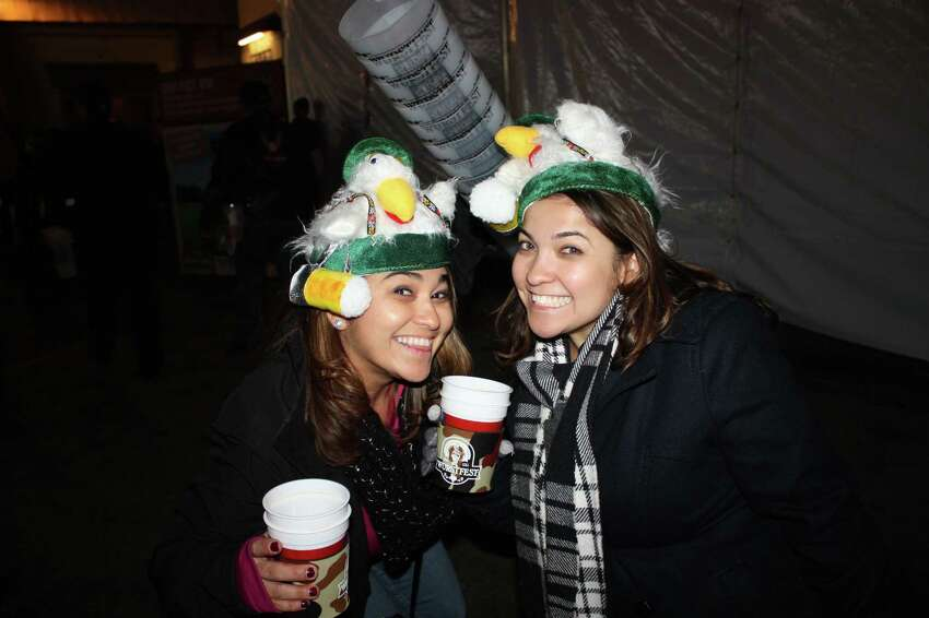 Despite the cold soupy weather fans of German sausage, beer and culture hit Landa Park in New Braunfels for a night of Wurstfest.