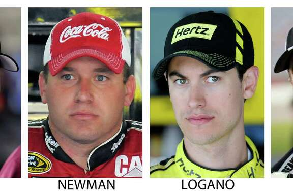 FILE - These are 2014, file photos showing NASCAR drivers from left, Denny Hamlin, Ryan Newman, Joey Logano and Kevin Harvick. This isn't the final four anyone predicted for NASCAR's first run at an elimination-style playoff system. One of these four drivers will win their first career Sprint Cup title Sunday, Nov. 16, 2014,  at Homestead-Miami Speedway.  (AP Photo/File)