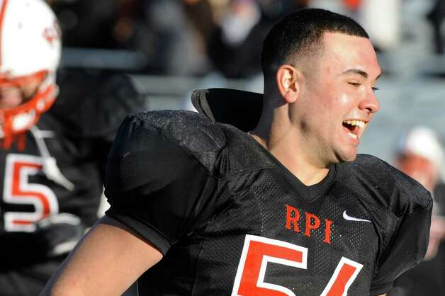 RPI's Colby Tragni celebrates his team's 31-28 win over Union in their football matchup on Saturday, Nov. 15, 2014, at Rensselaer Polytechnic Institute in Troy, N.Y. (Cindy Schultz / Times Union) Photo: Cindy Schultz / 00029476A