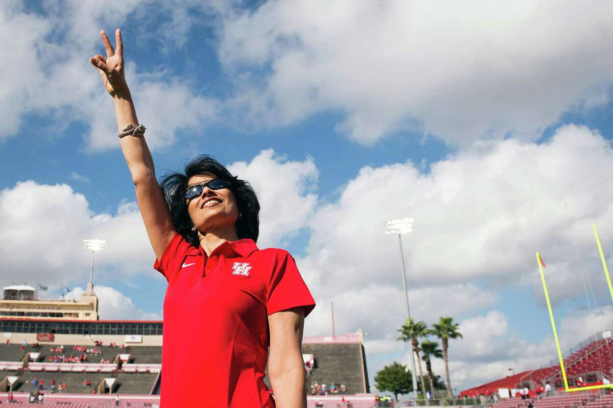 With University of Houston President Renu Khator, left, pointing the way, the campus now features sparkling new athletics facilities, cutting-edge new academic programs, and a vibrant student body - both day and night.