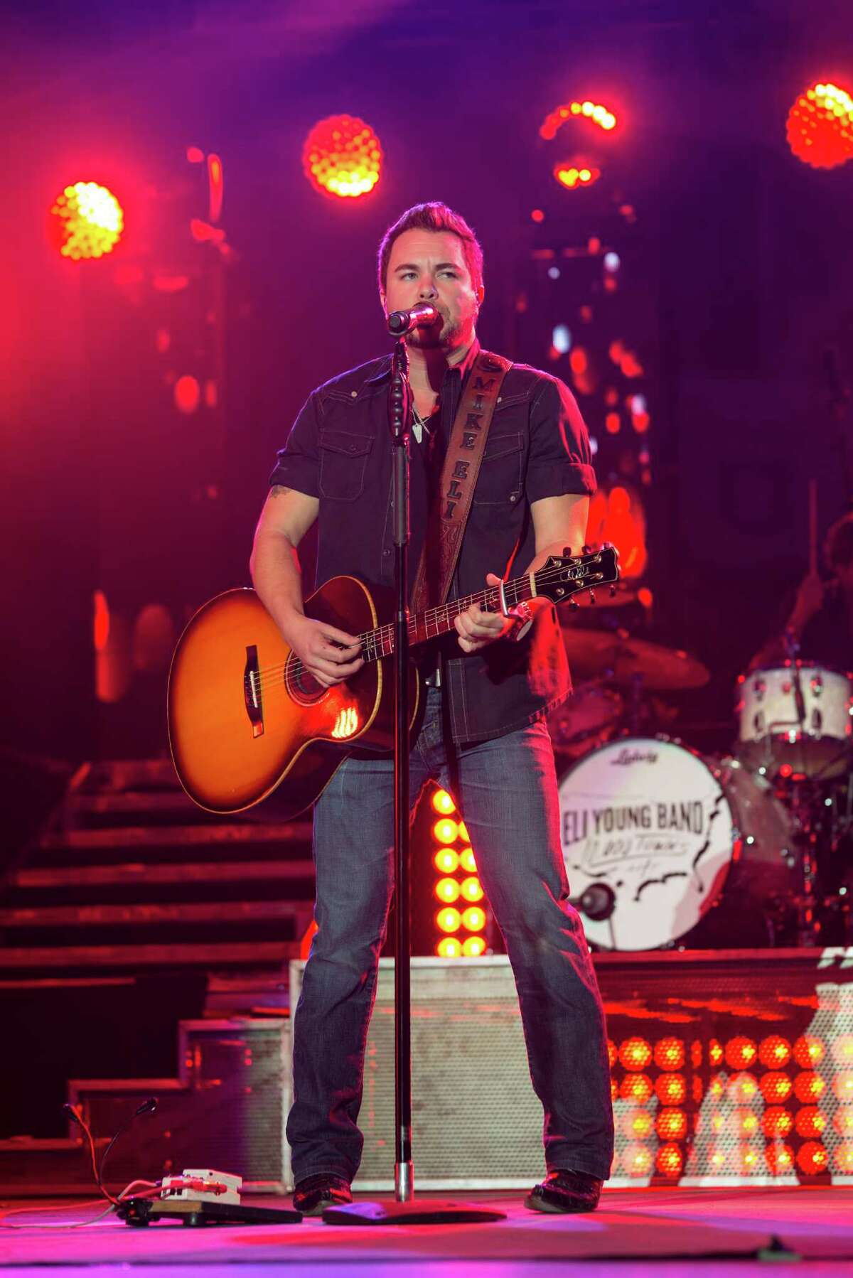 Eli Young Band vocalist and guitarist Mike Eli sings during the Eli Young Band House Party at Minute Maid Park, Saturday, November 15th, 2014