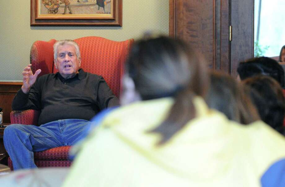 Dr. John Tamerin hosts a support group for people suffering from Depression and Bipolar Disorder at a private Greenwich residence, Friday afternoon, Nov. 7, 2014. Photo: Bob Luckey / Greenwich Time