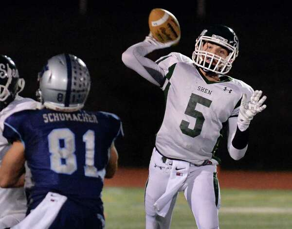 Shen quarter back #5 Ryan Van Galen fires off a pass during their Class AA quarterfinal football game against John Jay-East Fishkill at Dietz Stadium Saturday Nov. 15, 2014, in Kingston, NY.   (John Carl D'Annibale / Times Union) Photo: John Carl D'Annibale / 00029472A