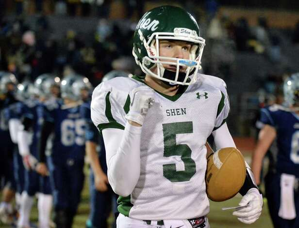 Shen quarter back #5 Ryan Van Galen pumps his fist after his team's win in the Class AA quarterfinal football game against John Jay-East Fishkill at Dietz Stadium Saturday Nov. 15, 2014, in Kingston, NY.   (John Carl D'Annibale / Times Union) Photo: John Carl D'Annibale / 00029472A