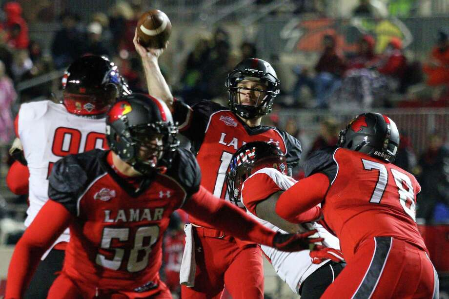 Senior Caleb Berry passes the ball during the game between the Lamar Cardinals and the Incarnate Word Cardinals at Provost Umphrey Stadium in Beaumont, November 15, 2014 (photo provided by Kyle Ezell).