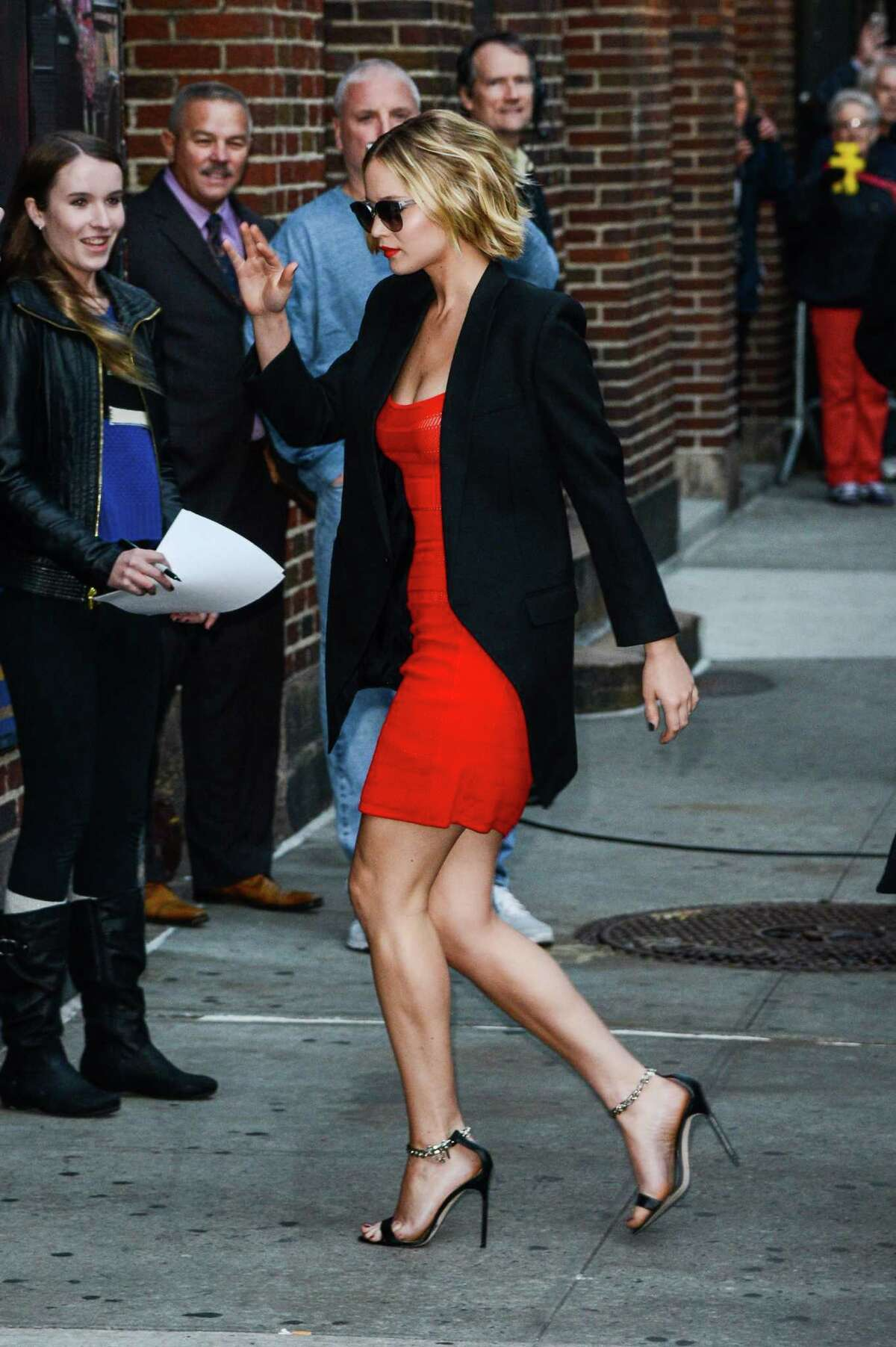 Actress Jennifer Lawrence enters the