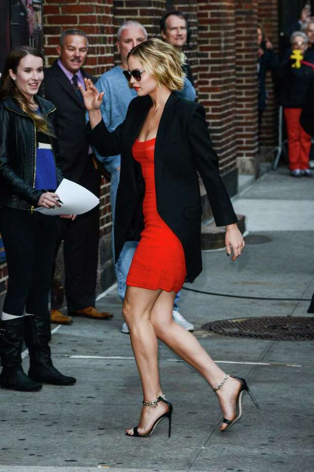 "Actress Jennifer Lawrence enters the ""Late Show With David Letterman"" taping at the Ed Sullivan Theater on November 12, 2014 in New York City.  (Photo by Ray Tamarra/WireImage) Photo: Ray Tamarra, Getty Images / 2014 Ray Tamarra"