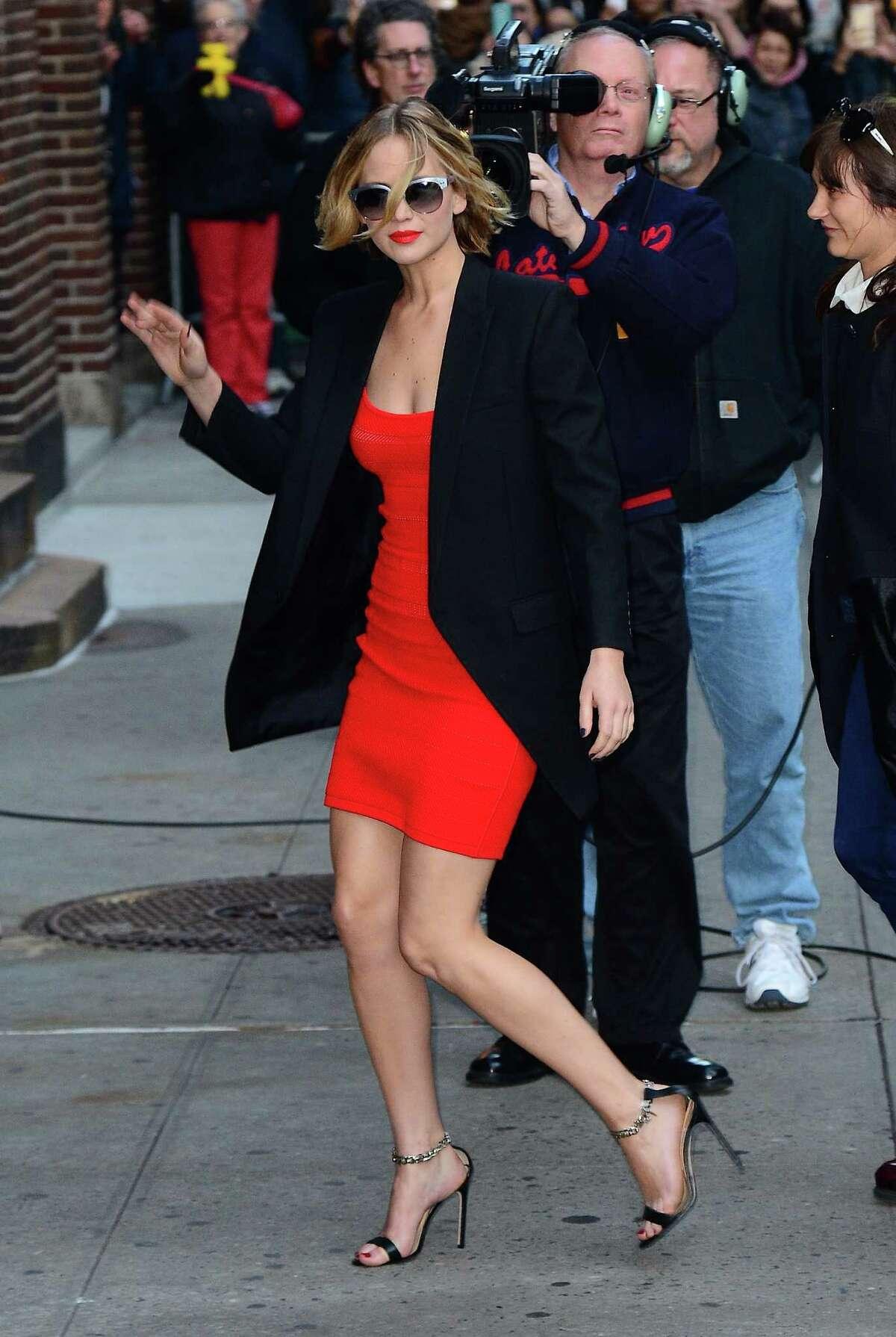 Actress Jennifer Lawrence arrived at