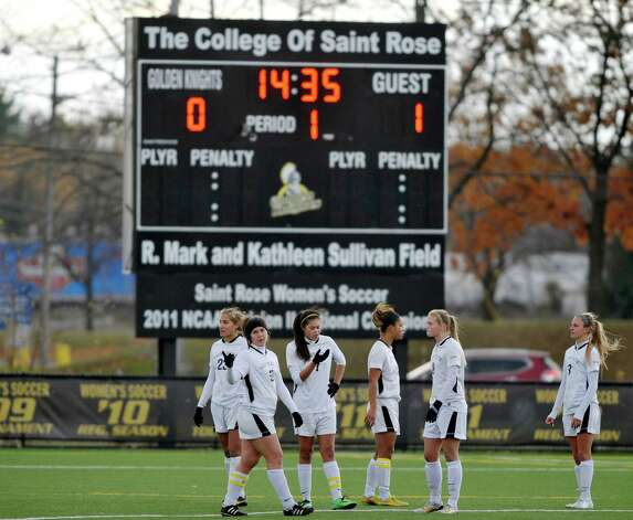 College of Saint Rose plays found themselves down in the first half during the second round of the NCAA Division II Women's Soccer Championship on Sunday, Nov. 16, 2014, in Albany, N.Y.  The College of Saint Rose last week suspended head coach Laurie Darling Gutheil for the remainder of the season.  (Paul Buckowski / Times Union) Photo: Paul Buckowski / 00029513A