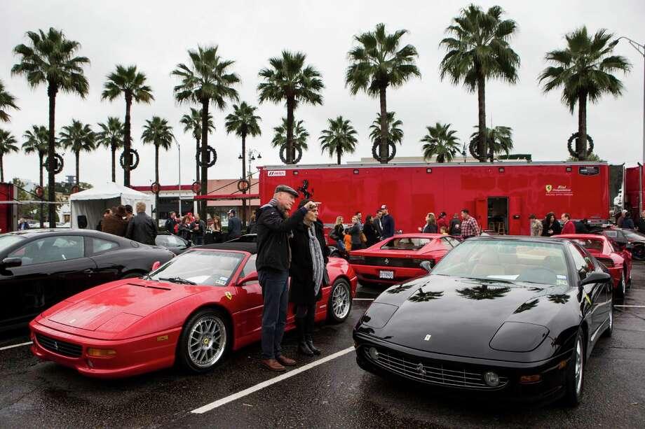 A variety of cars are on display during Highland Village Ferrari Fest on Sunday, Nov. 16, 2014, in Houston. Photo: Brett Coomer, Houston Chronicle / © 2014 Houston Chronicle