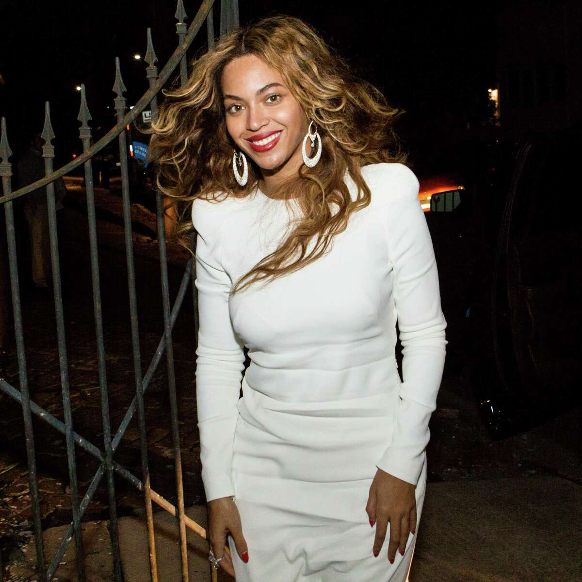 Musician Beyonce Knowles arrives at Felicity Street Methodist Church for musician Solange Knowles and music video director Alan Ferguson's rehearsal dinner on November 15, 2014 in New Orleans, Louisiana. (Photo by Josh Brasted/WireImage)AP story: Solange Knowles weds video director
