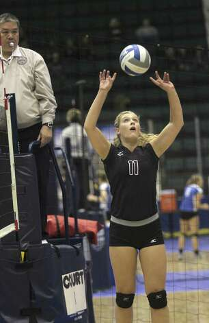 Burnt Hills-Ballston Lake's Jessica Dillon sets the ball during the NYSPHSAA Class A volleyball finals Sunday Nov. 16, 2014, at Glens Falls Civic Center. Burnt Hills lost three sets to two in the five set match. Ed Burke/Special to the Times Union) Photo: Ed Burke / 00029512A
