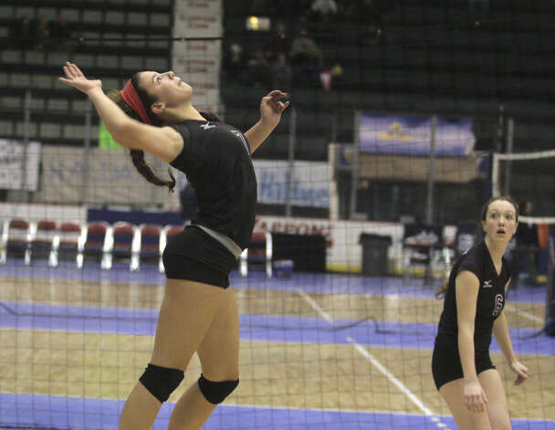 Burnt Hills-Ballston's Natalie Schurman takes aim during the NYSPHSAA Class A volleyball finals versus Pittsford Sutherland Sunday Nov. 16, 2014, at Glens Falls Civic Center. Burnt Hills lost three sets to two in the five set match. Ed Burke/Special to the Times Union) Photo: Ed Burke / 00029512A