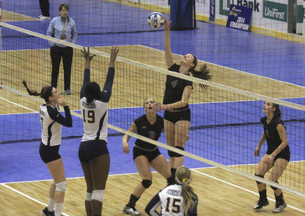 Burnt Hills-Ballston's Natalie Albright goes up during the NYSPHSAA Class A volleyball finals versus Pittsford Sutherland Sunday Nov. 16, 2014, at Glens Falls Civic Center. Burnt Hills lost three sets to two in the five set match. Ed Burke/Special to the Times Union) Photo: Ed Burke / 00029512A