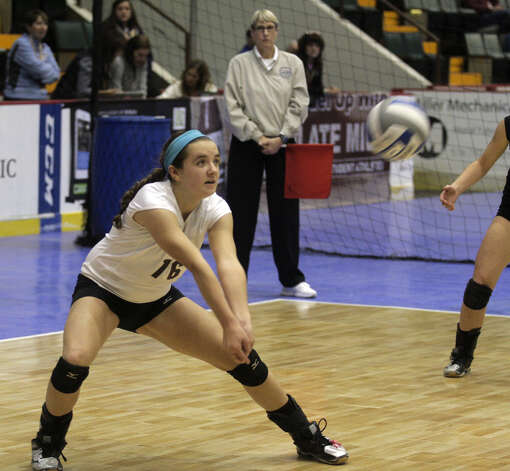 Burnt Hills-Ballston's Kate Isaksen bumps the ball during the NYSPHSAA Class A volleyball finals versus Pittsford Sutherland Sunday Nov. 16, 2014, at Glens Falls Civic Center. Burnt Hills lost three sets to two in the five set match. Ed Burke/Special to the Times Union) Photo: Ed Burke / 00029512A