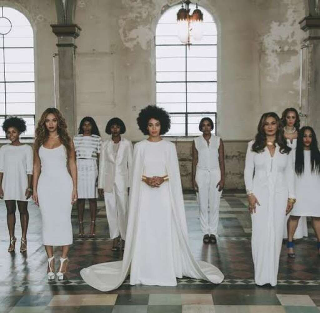 Solange breaks tradition with chic all white wedding houston beyonce solange and tina knowles all in white junglespirit Choice Image