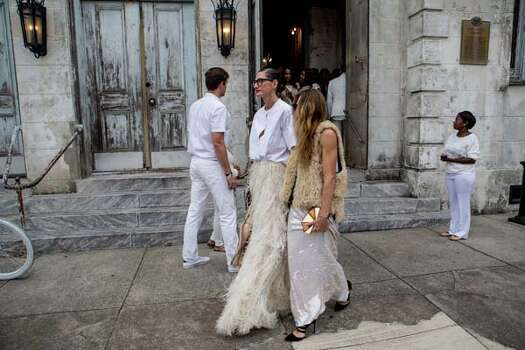 Jenna Lyons and guest outside of the wedding ceremony of musician Solange Knowles and music video director Alan Ferguson at the Marigny Opera House on November 16, 2014 in New Orleans, Louisiana. (Photo by Josh Brastead/WireImage) Photo: Josh Brasted, Getty Images / 2014 Josh Brasted