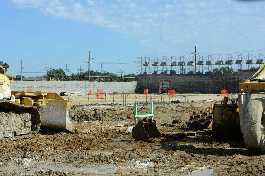 Sunday's heavy rains prevented work Monday at the future H-E-B site at College and 11th Streets. Construction began earlier this month with an expected completion date of early next summer.  Photo taken Monday, November 17, 2014 Guiseppe Barranco/The Enterprise Photo: Guiseppe Barranco, Photo Editor