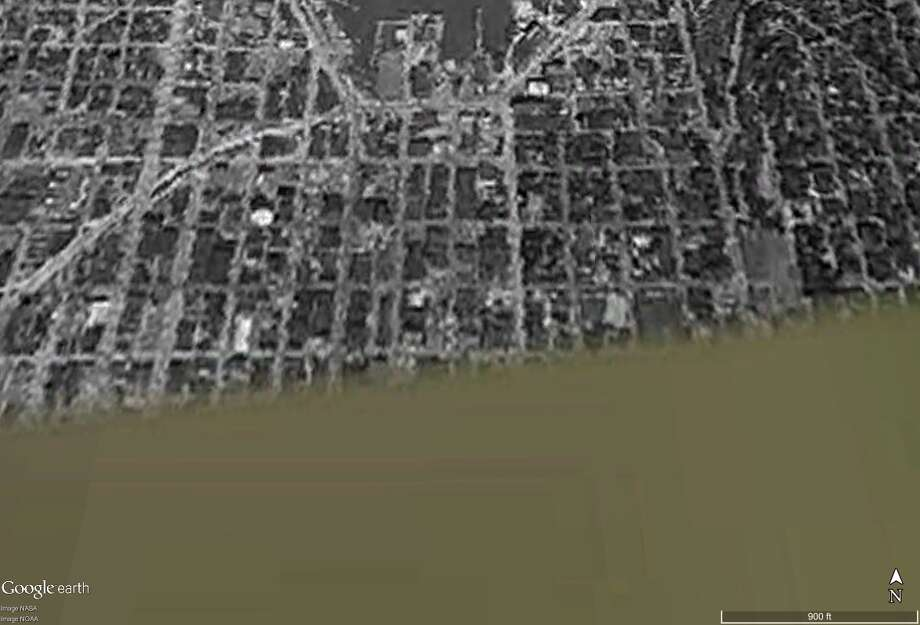 Here is South Lake Union seen from space in June 1961. It's the earliest satellite image Google Earth Pro had available of that area. In fact, as you'll see in following slides, that single grainy image of the area around Lake Union is the earliest for entire region. Either the Department of Defense was wondering if it should drop anti-communist leaflets there or that image got recorded for some other reason …   Anyway, click on to see how things have changed and not changed for South Lake Union … especially Mercer Street! (You'll notice I-5 is under construction, but more on that in a later slide) Photo: Google Earth Pro