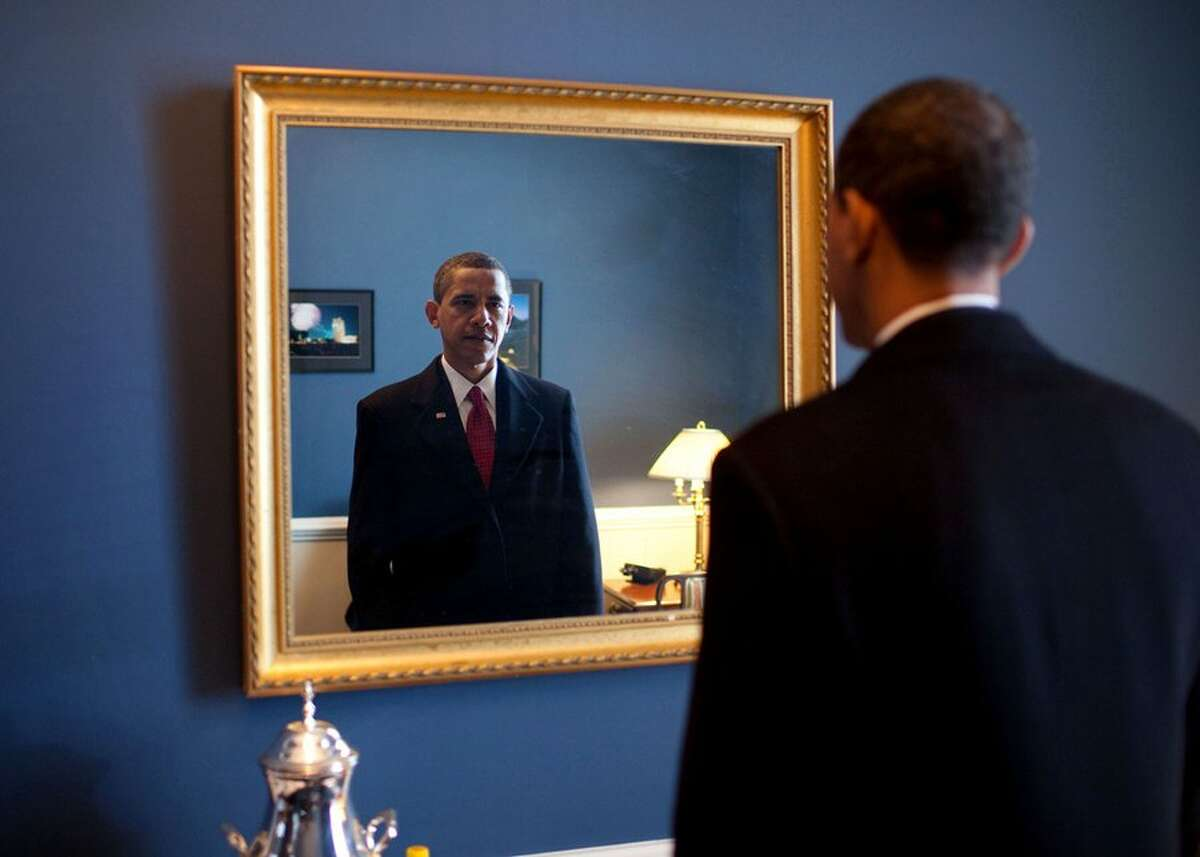 """""""President-elect Barack Obama moments before he took the oath of office."""