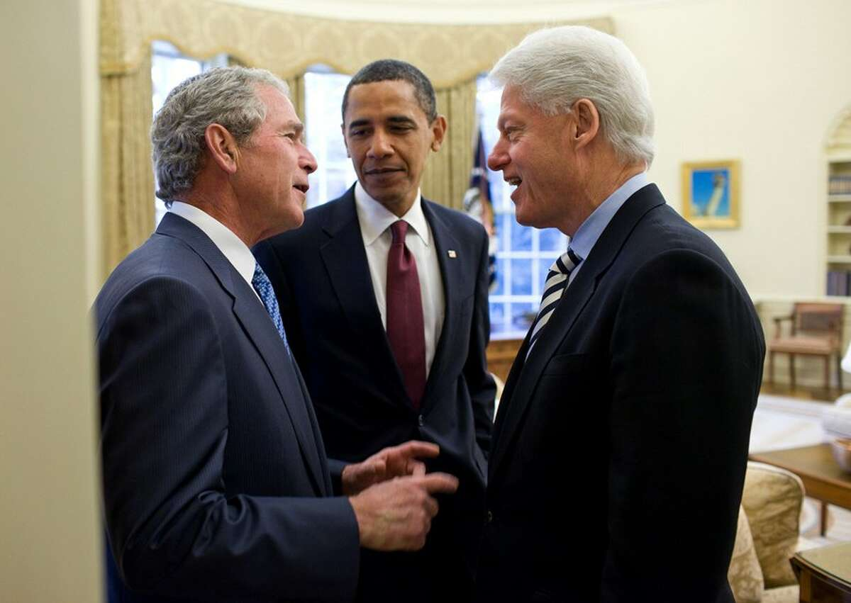 During a January 2010 summit with former Presidents George W. Bush and President Bill Clinton.