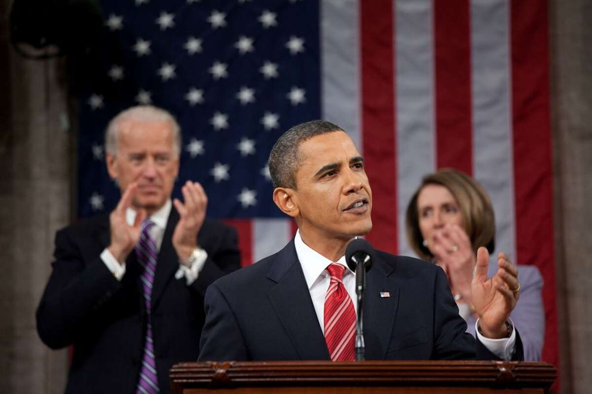 Barack Obama gives his first State of the Union address on Feb. 24, 2009.