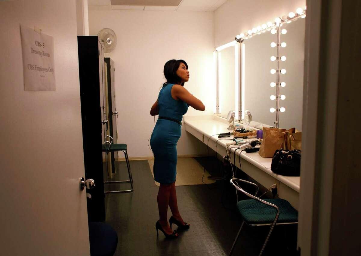 Anchor Veronica De La Cruz prepares for the 6pm KPIX 5 newscast in a makeup room at KPIX's Studios on November 11, 2014 in San Francisco, Calif.
