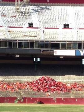 Torn-out seats at Candlestick Park