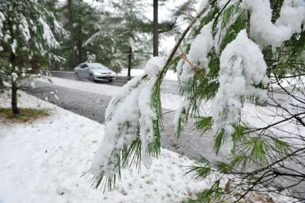 Snow covers trees in Saratoga Spa State Park on Monday morning, Nov. 17, 2014, in Saratoga Springs, N.Y.   (Paul Buckowski / Times Union) Photo: Paul Buckowski / 00029520A