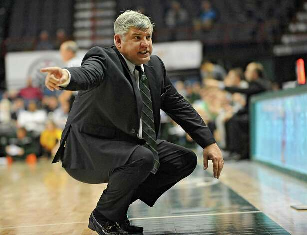 Siena head coach Jimmy Patsos talks to his bench on the sideline during a basketball game against Vermont at the Times Union Center on Monday, Nov. 17, 2014 in Albany, N.Y.  (Lori Van Buren / Times Union) Photo: Lori Van Buren / 00029488A