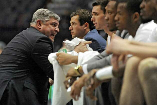 Siena head coach Jimmy Patsos talks players on his bench during a basketball game against Vermont at the Times Union Center on Monday, Nov. 17, 2014 in Albany, N.Y.  (Lori Van Buren / Times Union) Photo: Lori Van Buren / 00029488A