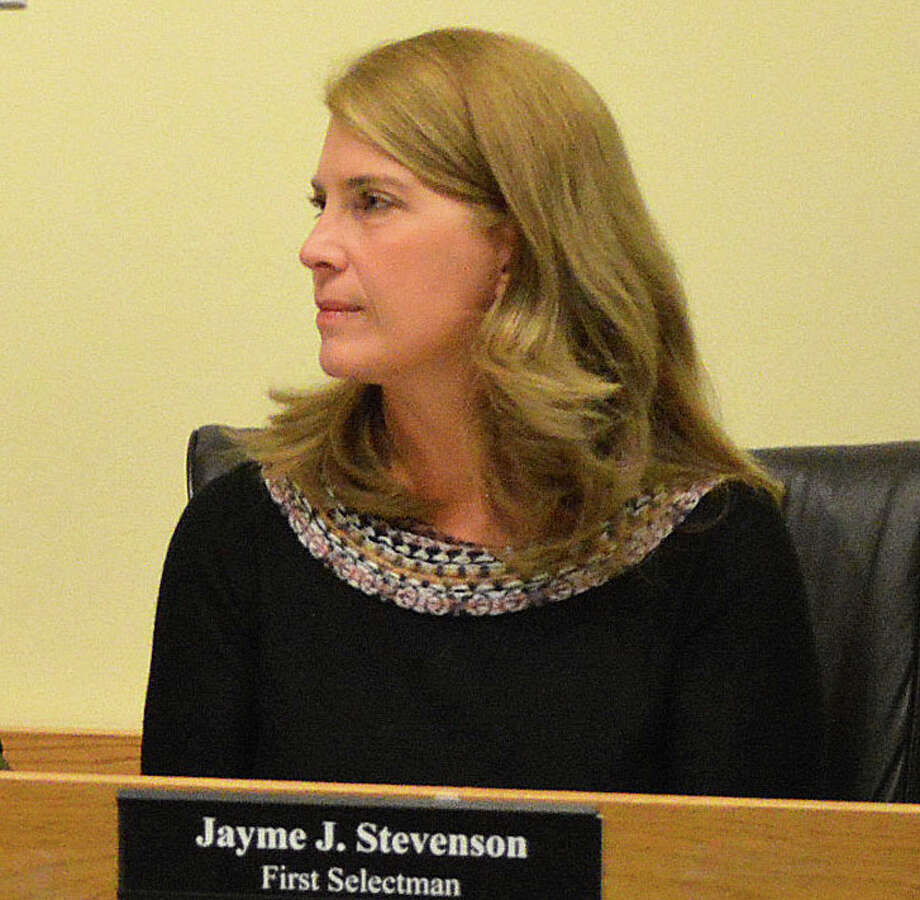 "First Selectman Jayme Stevenson listens to discussion at Monday's Board of Selectmen meeting about Board of Education concerns regarding unresloved problems at their Leroy Avenue offices. She called press reports on those issues ""misinformation."" Photo: Jarret Liotta / Darien News"